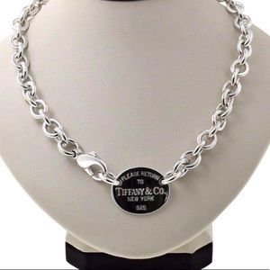 Tiffany&Co Signature Sterling Silver Oval Necklace